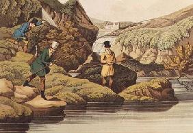 Salmon Fishing, auqatinted by I. CLark, pub. by Thomas McLean 1820