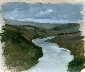 Landscape from Dniepr, c.1878-89 (oil on canvas) 15th