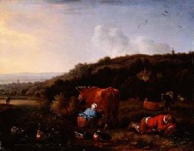 A pastoral landscape with a milkmaid and a sleeping cowherd