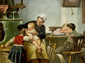 Kunstdruck von Hermann Kern - Großmutter mit spielenden Enkeln