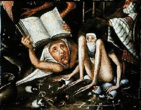 The Inferno, detail of a huddled and gagged creature next to a human monster holding up an open book