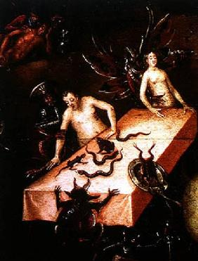 The Inferno, detail of two people around a table with demons