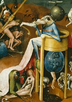 The Garden of Earthly Delights: Hell, right wing of triptych, detail of blue bird-man on a stool c.1500