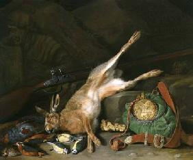 A Still life of a Hare with Hunting Equipment and a Musket