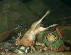 Still Life of a Hare with Hunting Equipment (oil on canvas) (for pair see 93439) 1911