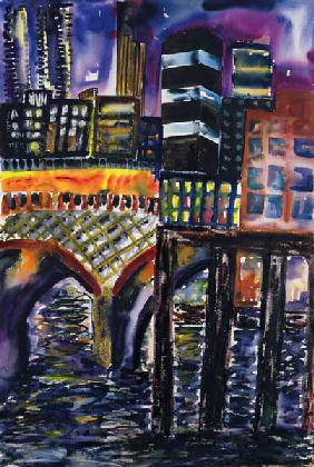 City at Night, 1998 (w/c on paper)