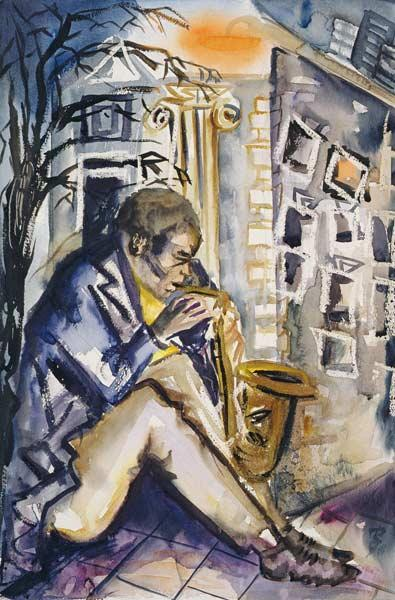 Sax Player, 1998 (w/c on paper)