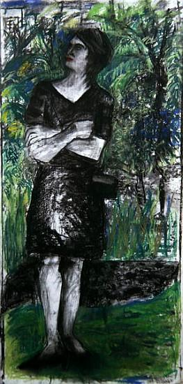 Woman in the Park (pastel & charcoal on paper)