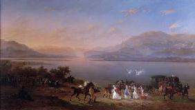 Empress Josephine (1763-1814) arriving to visit Napoleon (1769-1821) in Italy on the banks of Lake G 1796