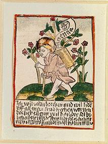 Kunstdruck von  Holzschnitt (koloriert) - Das Jesuskind mit dem Tragekorb