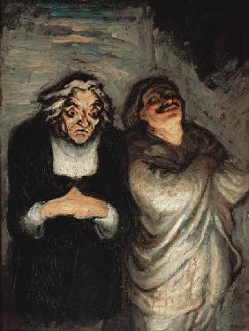 Kunstdruck von Honoré Daumier - Szene aus einer Komödie