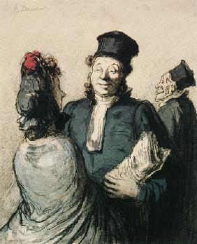 Kunstdruck von Honoré Daumier - Un avocat et sa cliente