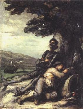 Kunstdruck von Honoré Daumier - Don Quichotte et Sancho Pança se reposant sous un arbre