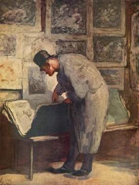 Kunstdruck von Honoré Daumier - Der Kupferstich-Liebhaber