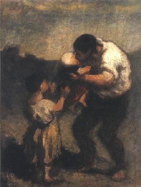 Kunstdruck von Honoré Daumier - La Baiser