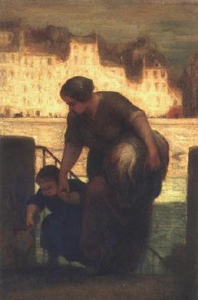 Kunstdruck von Honoré Daumier - La Sortie du bateau à lessive