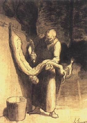 Kunstdruck von Honoré Daumier - Le Boucher, marché Montmartre
