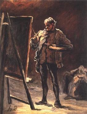Kunstdruck von Honoré Daumier - Le Peintre devant son tableau