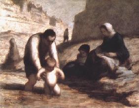 Kunstdruck von Honoré Daumier - Le Premier Bain