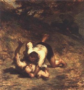 Kunstdruck von Honoré Daumier - Les Voleurs et I´Âne