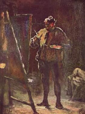 Kunstdruck von Honoré Daumier - Der Maler vor der Staffelei