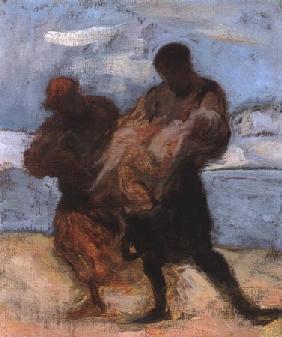 Kunstdruck von Honoré Daumier - Sauvetage on Noyade