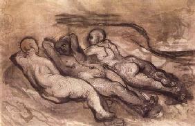 Kunstdruck von Honoré Daumier - Trois femmes nues couchées