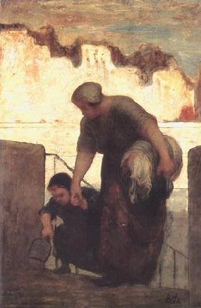 Kunstdruck von Honoré Daumier - Die Wäscherin