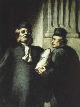 Kunstdruck von Honoré Daumier - Zwei Advokaten
