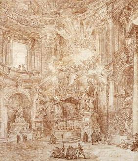 Interior of a church (red chalk on paper) 1607