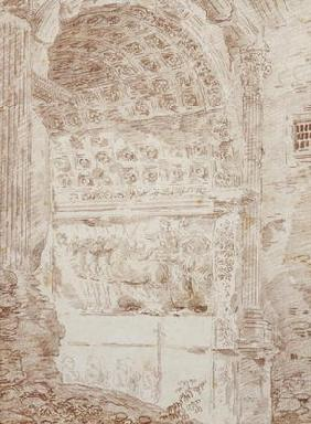 The Triumph of Rome, arc of Titus (red chalk on paper) 88;Le triomphe de Rome; char; arc; 17th
