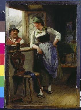 Kunstdruck von Hugo Wilhelm Kauffmann - Bursch und Mädel am Fenster