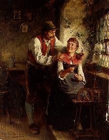 Kunstdruck von Hugo Wilhelm Kauffmann - Junges Paar am Fenster
