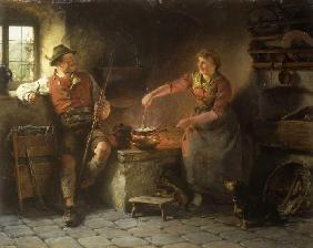 Kunstdruck von Hugo Wilhelm Kauffmann - Kleiner Schwatz in der Küche