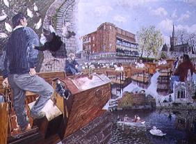 Boat Trip on the Avon at Stratford, 1995 (oil on board)
