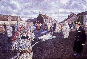 Boxing Day Mummers, Marshfield, 1998 (oil on board) (see also 107623)