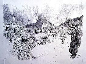 Boxing Day Mummers, Marshfield, 1998 (pen and ink on paper) (see also 107624)