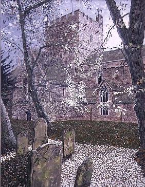 Brecon Cathedral, Autumn Day, 1992 (gouache on card)
