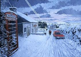 Collecting the Christmas Post at Bethlehem, Dyfed, 1995 (oil on board)