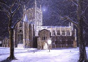 Hereford Cathedral, Floodlit at Night, 1994 (oil on board)