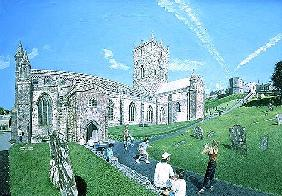 St. David''s Cathedral, Dyfed, 1994 (oil on board)