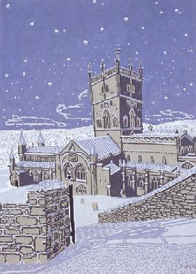 St. David''s Cathedral in the Snow, 1996 (gouache on paper)