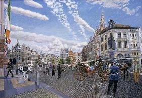 The Great Market Square in Antwerp, 1996 (oil on board)