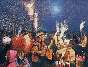 Wassailing in Herefordshire, 1995 (oil on board)