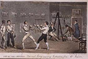Art of Self Defence: Tom and Jerry receiving instructions from Mr Jackson, from 'Life in London' by 1821 oured