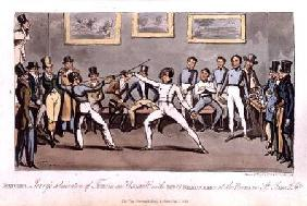Fencing: Jerry's admiration of Tom in an `Assault' with Mr O'Shaunessy, at the rooms in St. James's 1821 oured