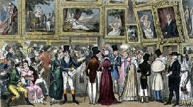 A Shilling Well Laid Out: Tom and Jerry at the Exhibition of Pictures at the Royal Academy, from 'Li 1821 oured