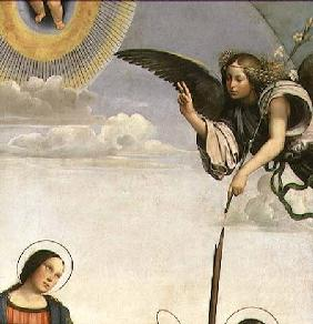 Annunciation and Saints, detail of the Archangel Gabriel 1500