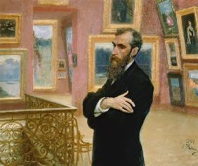 Portrait of Pavel Tretyakov (1832-98) in the Gallery 1901