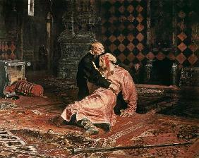 Kunstdruck von Ilja Jefimowitsch Repin - Zar Iwan der Schreckliche mit seinem Sohn Iwan am 16.November 1581.